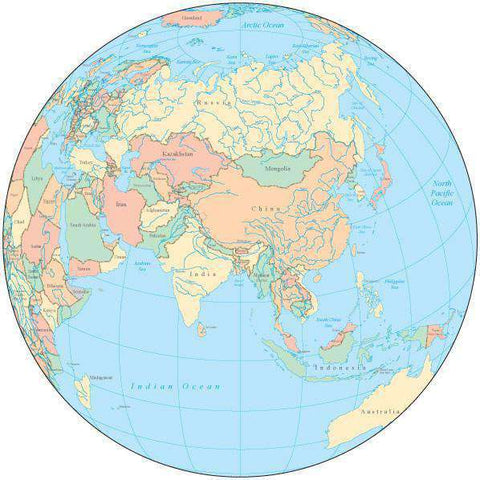 Globe over Asia Map with Countries and Water Features