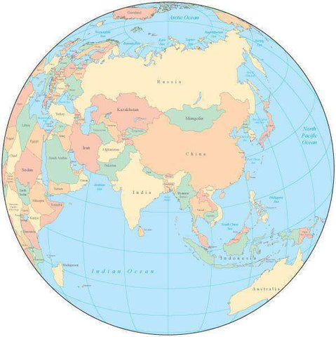 Multi Color Globe over Asia Map with Countries
