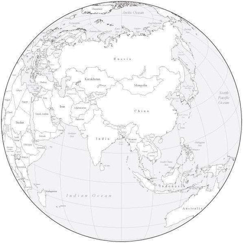 Black & White Globe over Asia Map with Countries