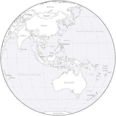 Black & White Globe over Australia Map with Countries