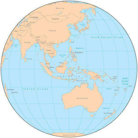 Single Color Globe over Australia Map with Countries