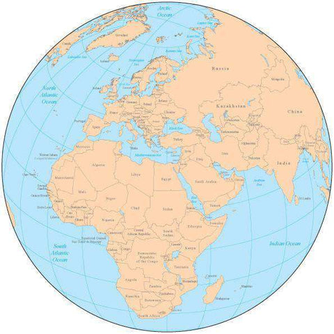 Single Color Globe over Africa & Europe Map with Countries