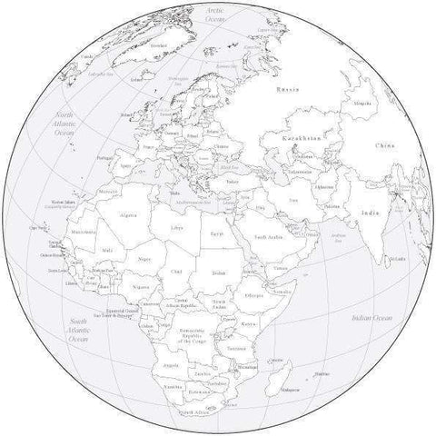 Black & White Globe over Africa & Europe Map with Countries