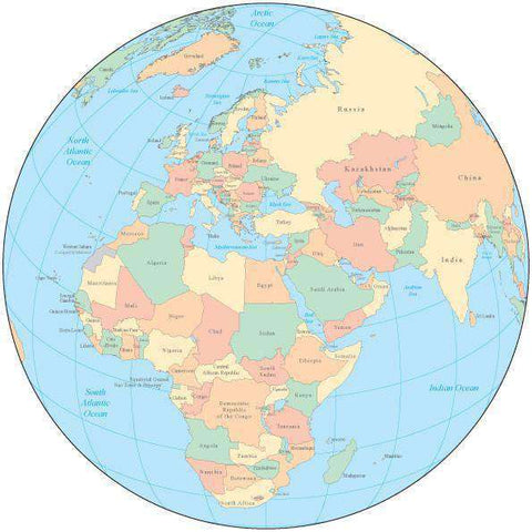 Multi Color Globe over Africa & Europe Map with Countries