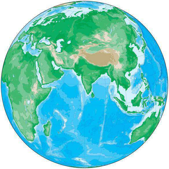 Map Of The Globe Of The World.Globe Map Over India With Contours