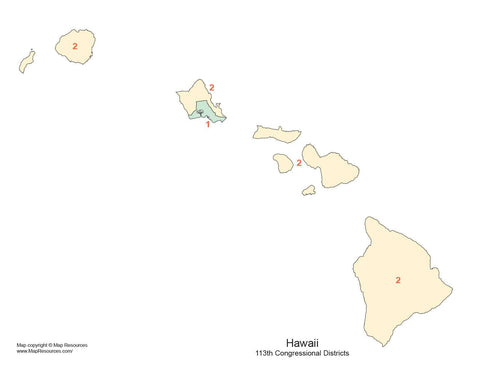 Hawaii Map with Congressional Districts
