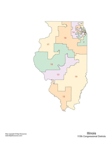 Illinois Map with Congressional Districts