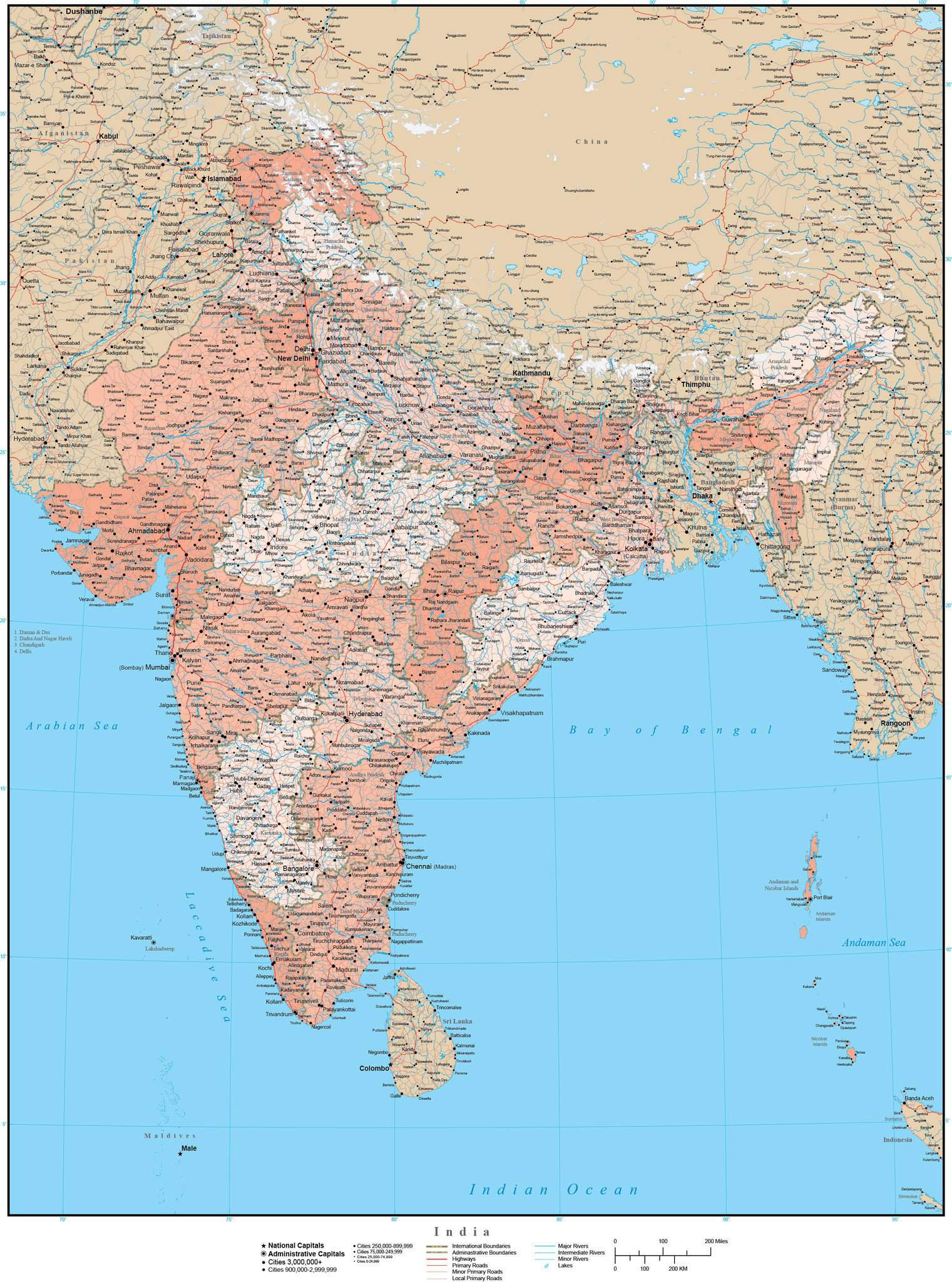 High Detail India Map With States Union Territories Map Resources