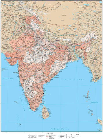 High Detail India Map with States & Union Territories - 17 inches by 22 inches