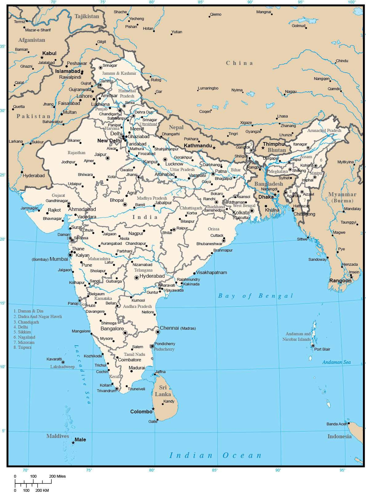 India Map with Administrative Areas and Capitals on india map with lakes, india map with important cities, india map with capitals, india map with roads, india map with rivers, india map with airports, india map with railroads, india map with mountain ranges,