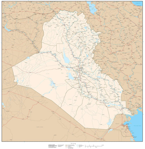 High Detail Iraq Map - 25 inches by 25 inches