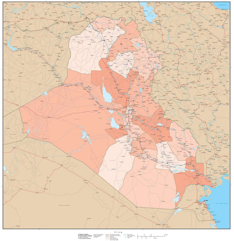 High Detail Iraq Map with Governorates - 25 inches by 25 inches