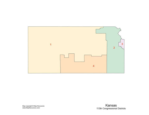 Kansas Map with Congressional Districts