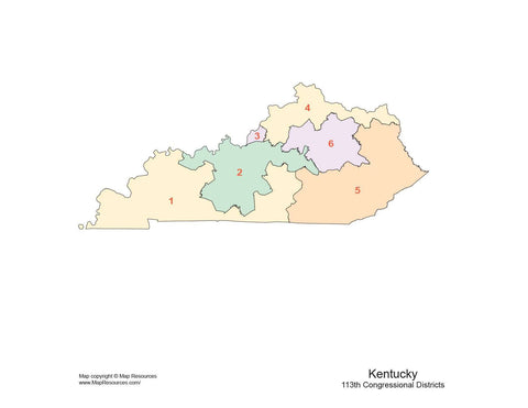 Kentucky Map with Congressional Districts