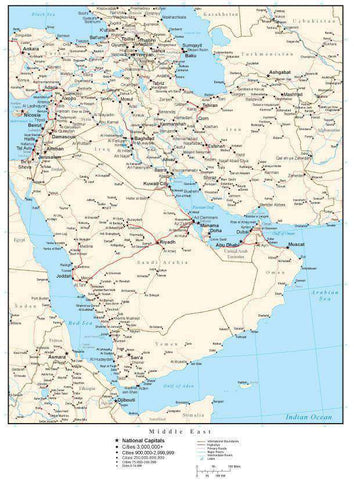 Middle East Map with Country Boundaries, Capitals, Cities, Roads and Water Features