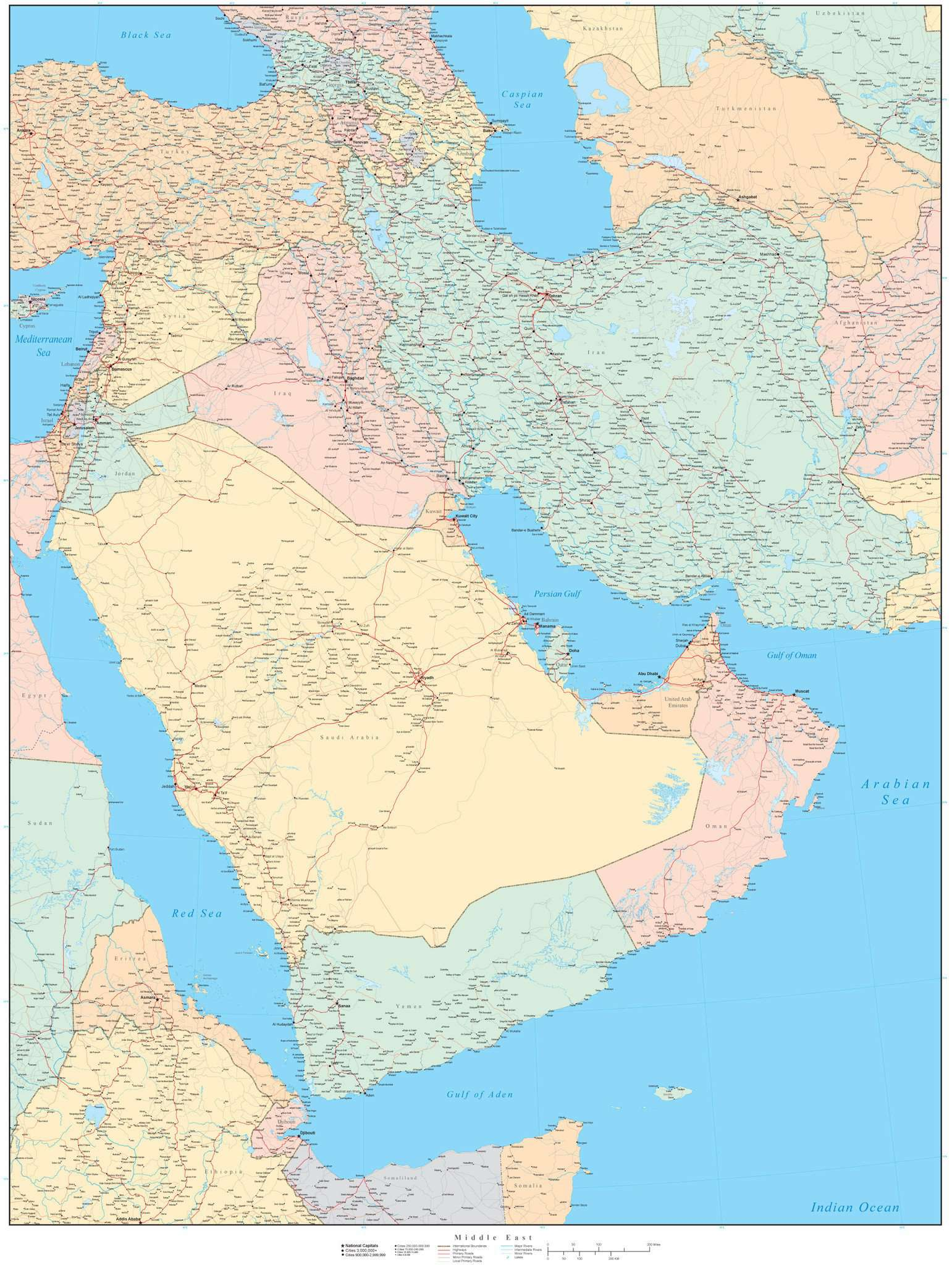 Image of: Poster Size Middle East Map In Adobe Illustrator Vector Format