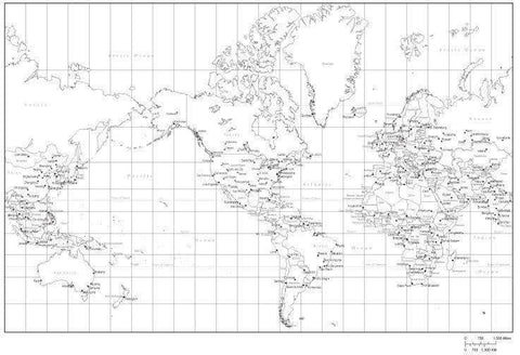 Black & White World Map with Countries  Capitals and Major Cities - MC-AMR-253490