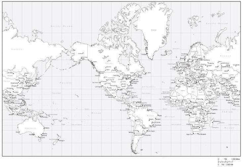 Black & White World Map with Countries  Capitals and Major Cities - MC-AMR-253550