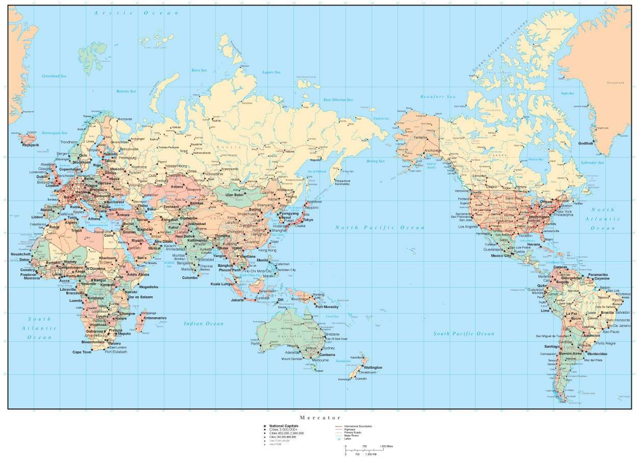 Map Of Asia Cities.World Map Asia Australia Center With Countries Cities And