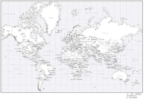 Black & White World Map with Countries and Major Cities - MC-EUR-253544