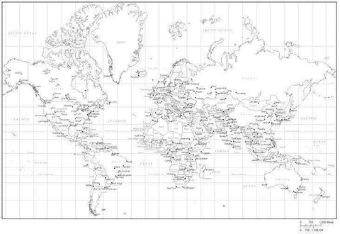 World Map Black & White with Countries, Capitals, and Major Cities - Mercator - MC-EUR-253551