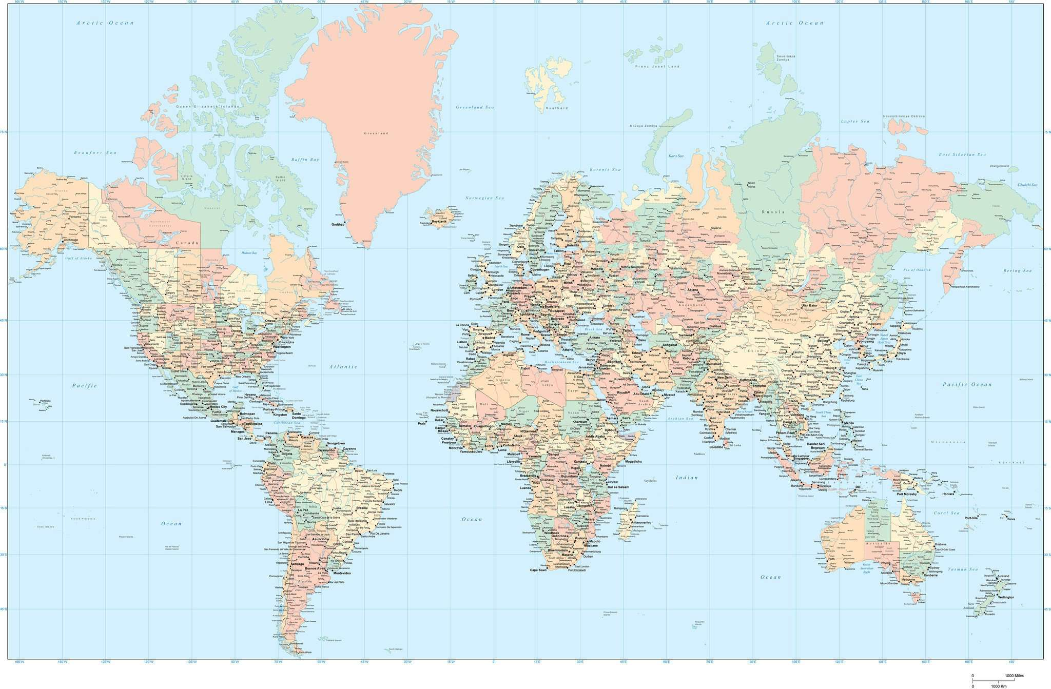 World Adobe Illustrator map with states and provinces Map Resources