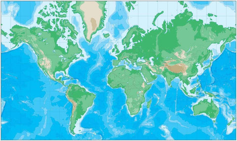 World Contour Map in Mercator Projection