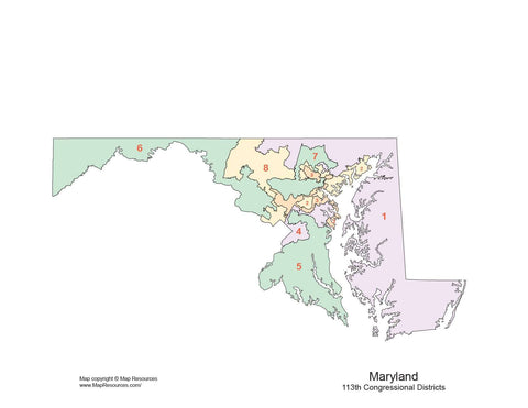 Maryland Map with Congressional Districts