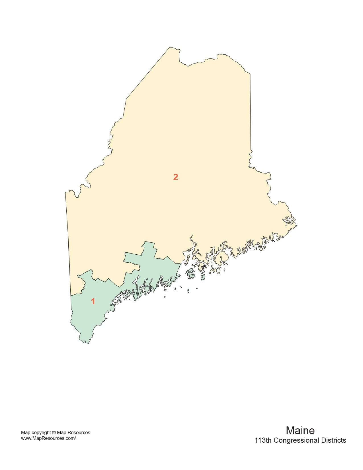 Maine Congressional District Map Adobe Illustrator And PowerPoint - Map of maine usa