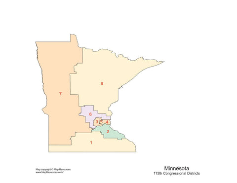 Minnesota Map with Congressional Districts