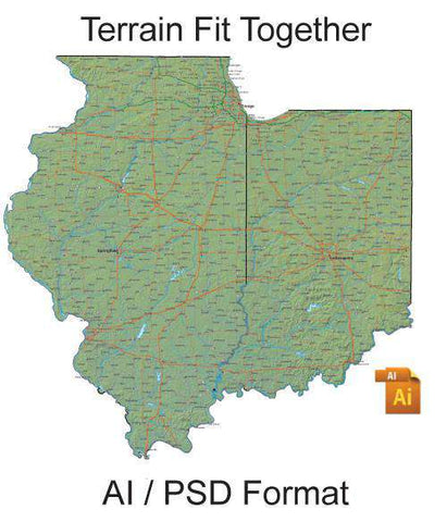 Fit Together 48 US States: with Counties and Terrain