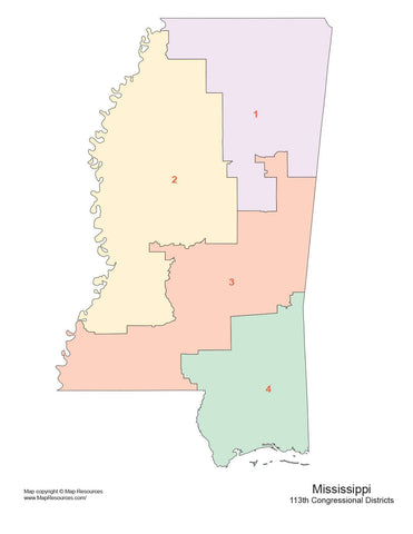 Mississippi Map with Congressional Districts