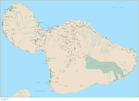 Maui Island HI Map with All Local Streets