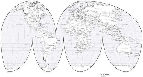 Black & White World Map with Countries  Capitals and Major Cities - MW-INT-253477