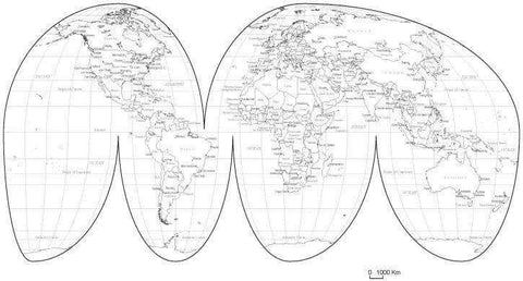 Black & White World Map with Countries  Capitals and Major Cities - MW-INT-253596