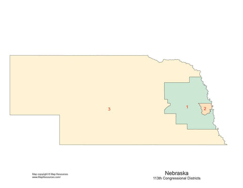 Nebraska Map with Congressional Districts