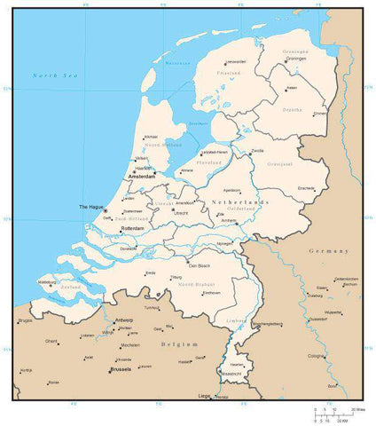 Netherlands Digital Vector Map with Province Areas and Capitals