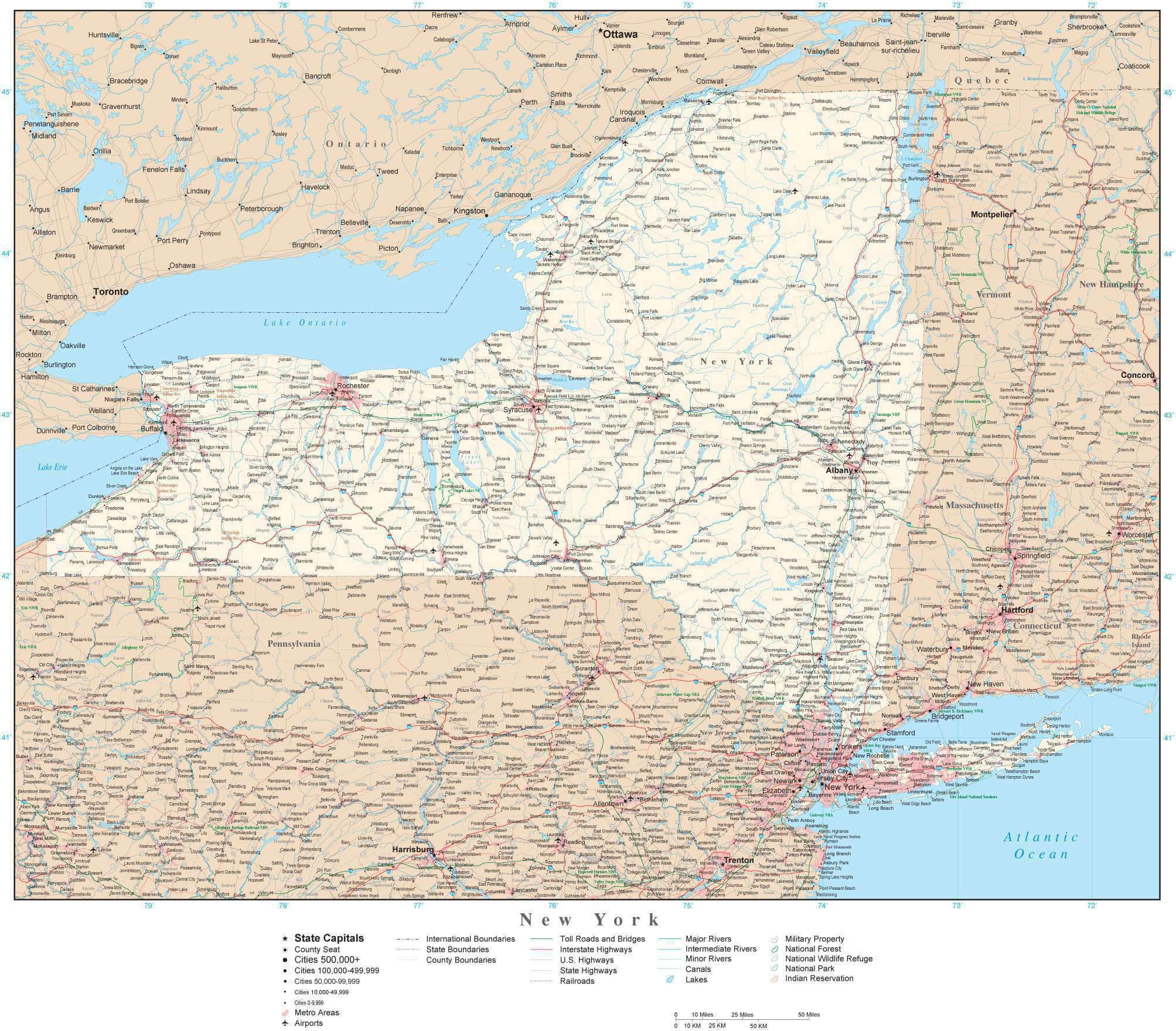 New York Detailed Map In Adobe Illustrator Vector Format Detailed
