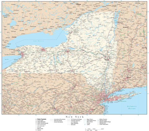 Poster Size New York Map with County Boundaries, Cities, Highways, National Parks, and more