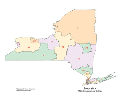 New York Map with Congressional Districts
