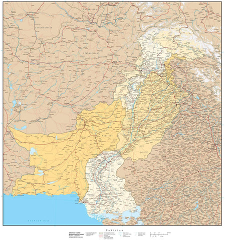 High Detail Pakistan Map with Provinces - 22 x 24 inches