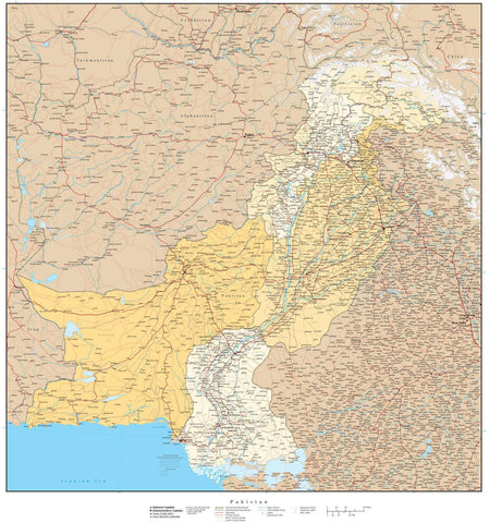 High Detail Pakistan with Provinces & Districts Map - 22 inches by 24 inches
