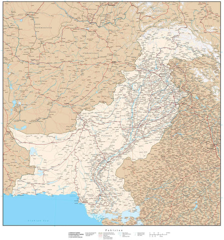 High Detail Pakistan Map - 22 x 24 inches