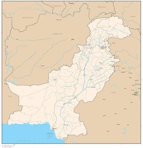 Pakistan with Provinces & Districts Map - 22 inches by 24 inches