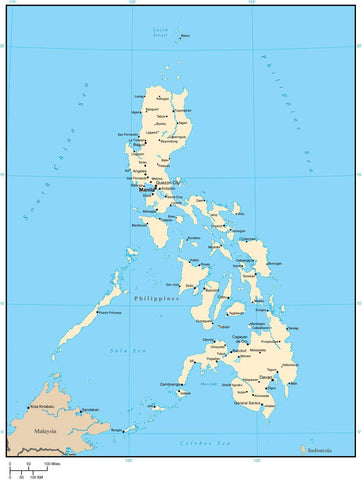 Philippines Map with Major Cities - Adobe Illustrator Vector Format