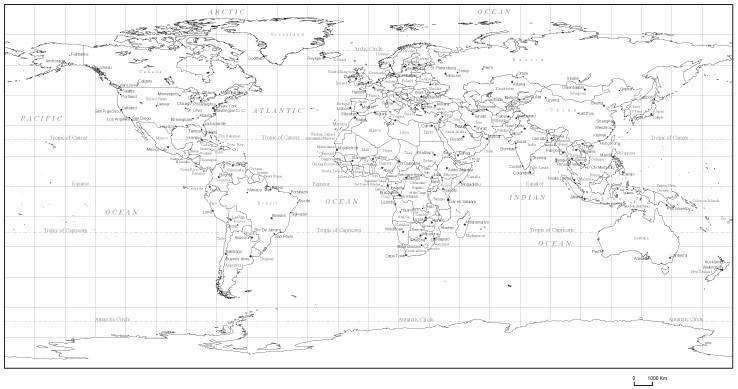 Black & White World Map with Countries Capitals and Major Cities - on map of europe with country names, world mercator map of the white, world map with country borders, world map stencil, world map white background, interactive world map with country names, world map silhouette, world map with country lines, world map vector, printable world map with names,