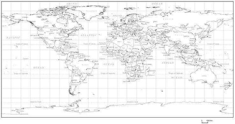 Black & White World Map with Countries  Capitals and Major Cities - PLTCRE-253693