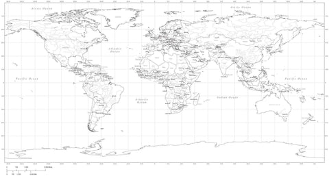 35 x 18 inch Black & White World Map - Plate Carr̩e Projection