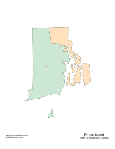 Rhode Island Map with Congressional Districts