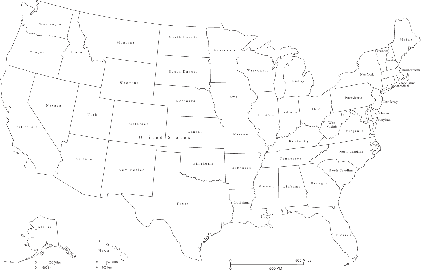 United States Black  White Map With State Areas And State Names - United states map arkansas